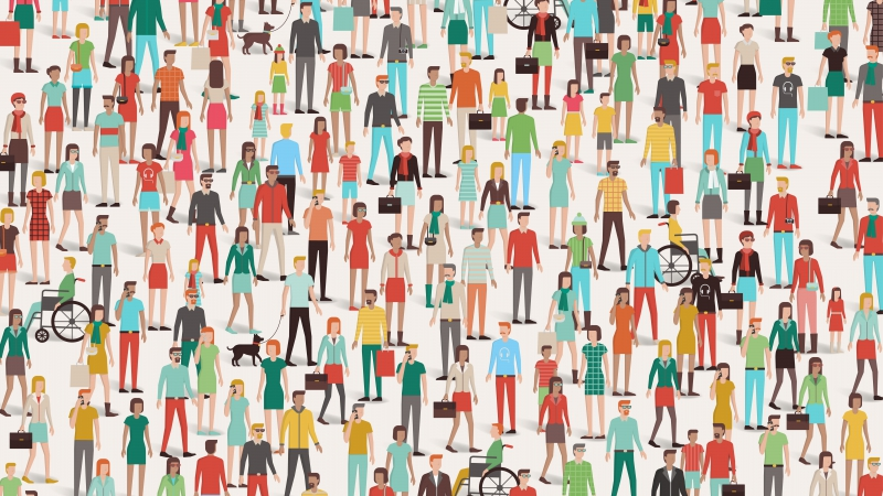 Vector image of a crowd of people