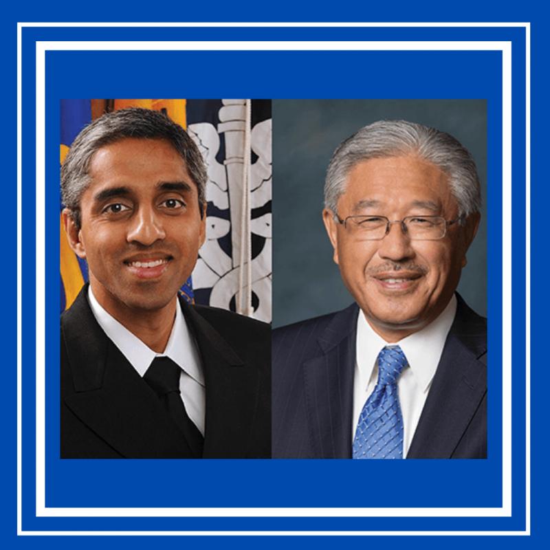 Headshots of Dr. Murthy (R) and Dr. Dzau (R)